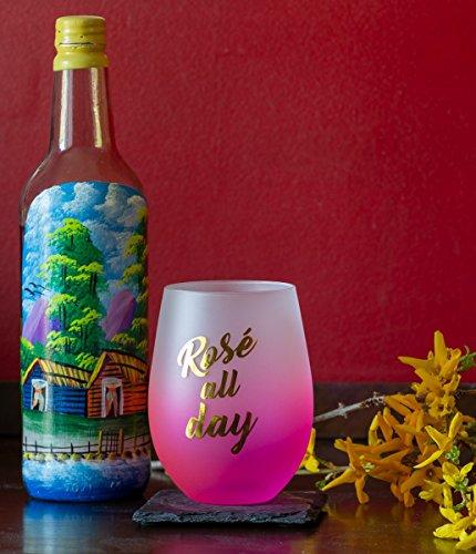 Novelty 16 Ounce Stemless Wine Glass (Rosé All Day)