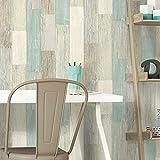 RoomMates RMK10840WP Coastal Weathered Plank Blue and Tan Peel and Stick Wallpaper