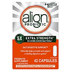 ONE CAPSULE A DAY. 24/7 DIGESTIVE SUPPORT. Align Extra Strength Probiotic Supplement, for men and women, naturally helps fortify your gut with healthy bacteria to maintain your digestive system's natural balance EFFECTIVE PROBIOTIC STRAIN. Align cont...