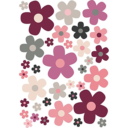 younikat Blumen-Aufkleber-Set Blümchen rot beige I Flower-Power Sticker für Fahrrad Laptop Handy Küche Bad Fahrzeug-Aufkleber I wetterfest I kfz_286