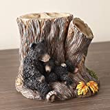 The Lakeside Collection Cozy Bear Toothbrush Holder with Carved Tree Stump, Animal Design