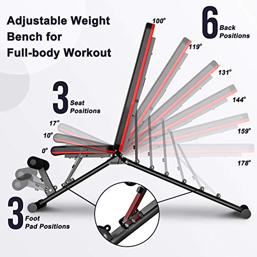 FBSPORT Weight Bench, Adjustable Strength Training Workout Bench , Bench Press for Home Gym Full Body Exercise, Incline Decline Weight Bench Foldable Workout Bench with Bands, Red