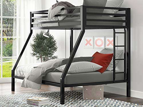 """SHA CERLIN Metal Bunk Bed Twin Over Full Size with Removable Stairs, Heavy Duty Sturdy Frame with 12"""" Underbed Storage for Teen & Adults, Teens, No Box Spring Needed, Black"""