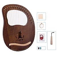 1個 19弦 ハープセット 木製竪琴 マホガニー製 初心者向け ポータブル楽器 耐久性のある チューニングレンチ付き配達6〜9労働日まで