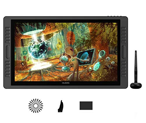 Huion Kamvas pro 22 Tavoletta grafica con schermo con gamma colori 100% sRGB, 20 tasti di stampa personalizzati e 2 Touch Bar, monitor per disegni grafici con funzione di inclinazione, 266 PPS