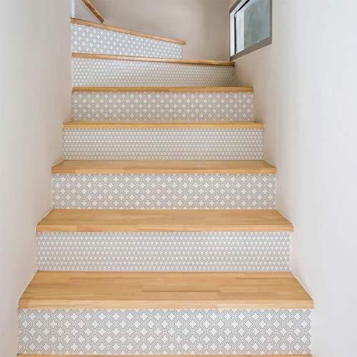 2 pegatinas de azulejos de escaleras, Vinilo, Oskar, 4 tiras de 15 x 105 cm