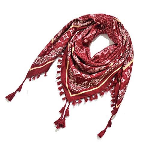 Vcnhln Bufanda de algodón Estilo Bohemio para Mujer, Chal Estampado, Bufanda con Flecos de Mujer étnica Rusa, Talla única