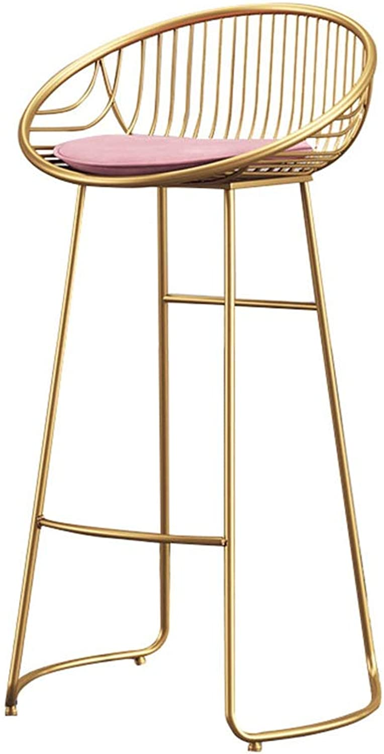Barstools Footstool High Stool Dining Chair as Kitchen Chair   Bar   Breakfast Stool   Pink White Cushion gold Metal Legs   Kitchen Maximum Load 150 Kg   Bar   Height 65 75cm