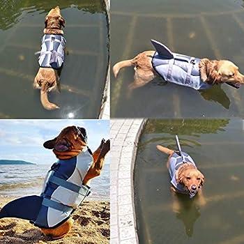 Vohoney Pet Life Jacket Gilet de Sauvetage pour Chien Lifesaver Sécurité Gilet Réfléchissant Taille Réglable Dog Lifejacket pour Natation Surf Bateau de Chasse (L, Grey Gilet De Sauvetage pour Chien)
