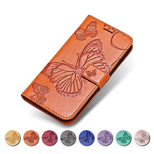 KKEIKO Moto E4 Hülle, Moto E4 Leder Handyhülle Schutzhülle, Schmetterling Muster Stoßsichere Lederhülle Brieftasche Flip Case für Moto E4 - Orange