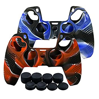 Skin for PS5 Controller Grips Anti-Slip Silicone Skin Protective Cover Case for PS5 Dualsense Controller with Thumb Grip x8 Blue and Red