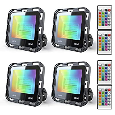 4 Pack 50W RGB Flood Light Color Changing LED Flood Light with Remote IP66 Waterproof Outdooor Floodlight Dimmable Strobe Uplighting Indoor for Stage, Party, Wall Wash, Landscape, Garden