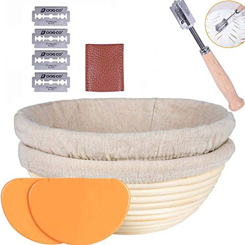 KJSMA 9 inchBread Proofing Basket Set 2 PackBanneton Baking Proofed Kit with Dough Scraper*2, Washable Linen Cloth *2 and Bread Lame