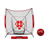 PowerNet Pitch Perfect Targets, Practice 7x7 Net and Strike Zone Attachment Bundle | Baseball Softball Pitching Trainer | 3 Size Target Set | Increase Pitching Throwing Accuracy Location Strikes
