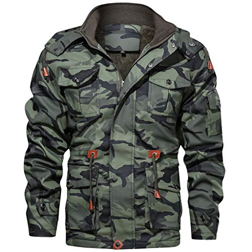eipogp Men's Casual Military Jackets Sherpa Lined Camouflage Coat Windproof Hooded Parka Drawstring Outwear with Multi Pocket