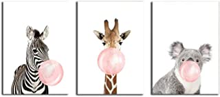 BE GOOD 3 Panel Paintings Wall Art Zebra Giraffe Koala with Bubble Gum Contemporary Prints Decoration On Canvas Wall Decor for Living Room Home Decor Hotel Office Gift 16x24 Inch for Each Frameless
