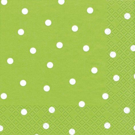 20 Servietten weiße Punkte auf grün/gepunktet/Muster/zeitlos/hellgrün 33x33cm