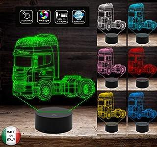 Regalo originale camionista personalizzabile con nome Idea Natale compleanno Lampada led Camion