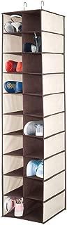 mDesign Soft Fabric Closet Organizer - Holds Shoes, Handbags, Clutches, Accessories - Large, 20 Shelf Over Rod Hanging Storage Unit - Cream/Espresso Brown
