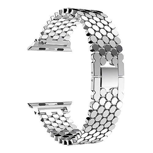 Compatible con Apple Watch Band 38 mm/40 mm Fashion Wristbands Fish-Scale Pattern IWatch Acero Inoxidable Cadena Zinc Alloy Steel Strip Suitable for Series 4 3 2 1
