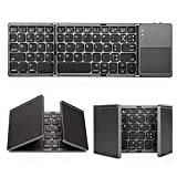 Jelly Comb Clavier Bluetooth AZERTY Rechargeable Pliable avec Pavé Tactile pour iOS, Android,...