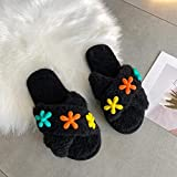 N/W Zapatillas de Bota para Hombre, Zapatillas de Felpa de Fondo Plano de otoño e Invierno, Zapatillas de algodón con Punta Redonda para Mujer-Black_40-41