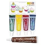 4 colorantes alimentarios líquidos azul, rojo, amarillo, verde + Tubo de chocolate para decorar