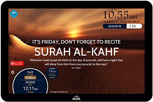 Masjidal Next Gen 14' Athan Clock Frame-Sync with local Masjid, Quran Dikhr Hadith Wall Muslim...