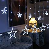 LED Curtain Lights,12 Stars 138 LED Curtain String Lights Memory Window Curtain Lights with 8 Flashing Modes Decoration for Christmas, Wedding, Party,Wall, Home Decorations (White)