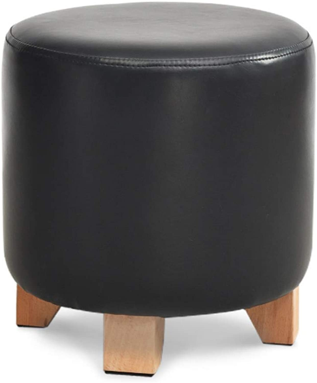 RMJAI Household Pouffes and Footstools Cylindrical Structure 3-Leg Support Stable PU Exterior Foot Stool Foot Rest Living Room Decoration shoes Bench(11.4x11.4x11.4 Inches) (color   Black)