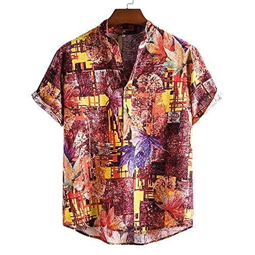 Hawaiana Camisa Hombre Verano Ligera Holgada Hombre Camiseta Casual Vacaciones Transpirable Playa Shirt Clásico Retro Estampado Secado Rápido Hombre Manga Corta C-03 M