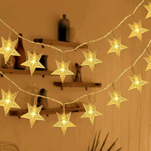HOMVAN Led Lichterkette Batteriebetrieben Sterne Lichterkette 7.5 Meter 50 LEDs Innen und Außen Lichterketten ideal für Weihnachten Halloween Hochzeit Zimmer Dekoration Party Garten Warmweiß