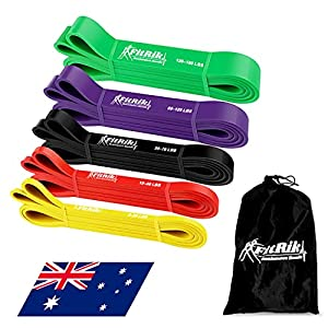 FitRik Skin Friendly Heavy Exercise Resistance Bands Set - 5 Levels Multi-coloured Fitness Workout Bands - Natural Latex Exercise Bands for Working out - Yoga - Weightlifting - Physical Therapy - Rehab - Bench Press - Dead Lift - Improve Mobility and Stre