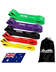 FitRik Skin Friendly Heavy Exercise Resistance Bands Set - 5 Levels Multi-coloured Fitness Workout Bands - Natural Latex Exercise Bands for Working out - Yoga - Weightlifting - Physical Therapy - Rehab - Bench Press - Dead Lift - Improve Mobility and Strength