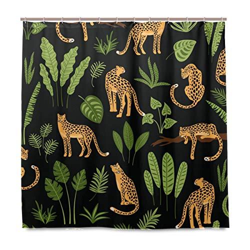 BALII Duschvorhang mit Leoparden- und tropischen Blättern, 183 x 183 cm, Polyester, wasserdicht, mit 12 Haken für Badezimmer