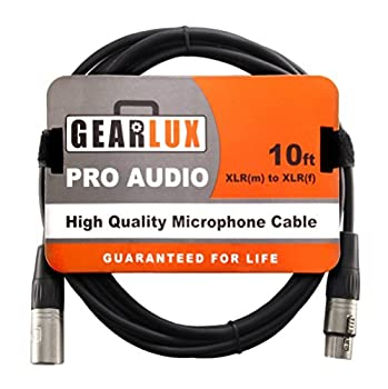 Gearlux XLR Microphone Cable Male to Female 10 Ft Fully Balanced Premium Mic Cable - 10ft