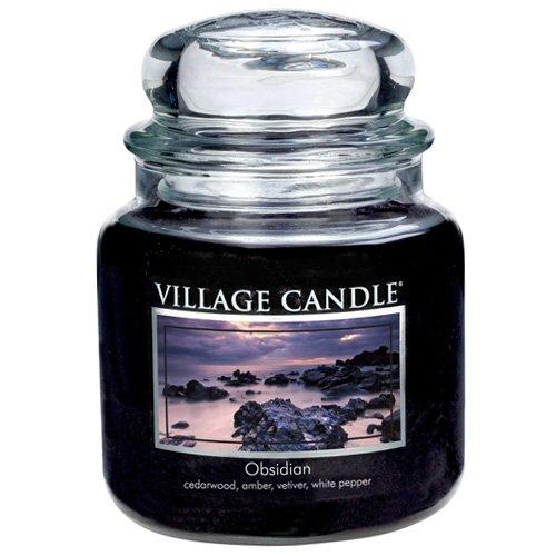 Village Candle Obsidian Duftkerze im Glas 454 g, schwarz, 9.8 x 9.5 x 12.4 cm