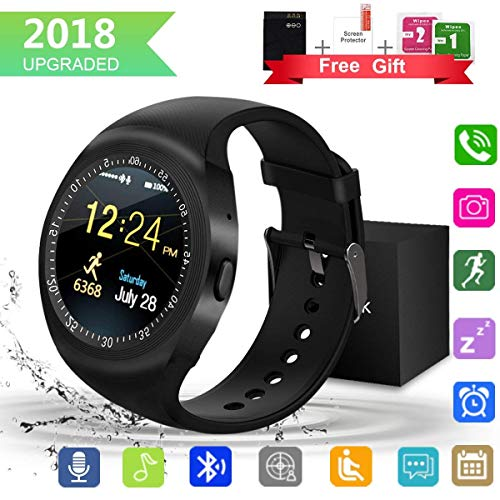 Bluetooth SmartWatch, Waterproof Smart Wrist Watch Telefono con Touchscreen Camera (nero)