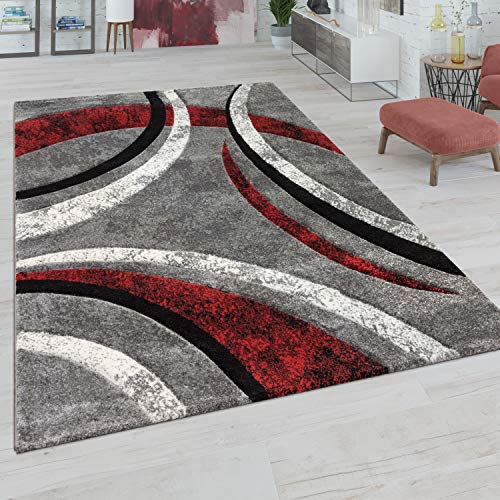 Alfombra Salón Pelo Corto Vintage Perfil Contorneado A Mano Efecto 3D, tamaño:160x230 cm, Color:Gris-Rojo