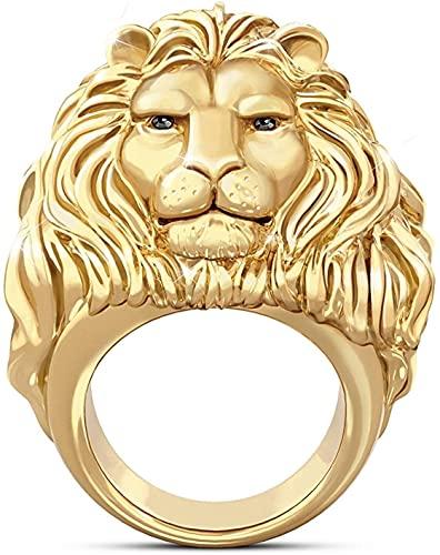 Anillo de cabeza de león de oro para hombres, Norse Viking León con melena, anillo de tótem de león, roca de metal pesado Estilo punk Gothic Biker Anillo, anillo de amuleto, regalo de joyería de vikin