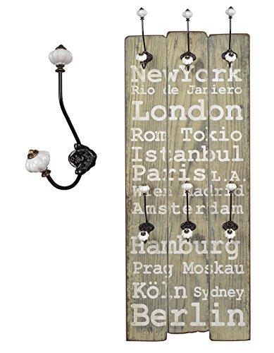 """Appendiabiti da parete """"London"""" in stile epoca effetto shabby. 100 x 40 cm."""