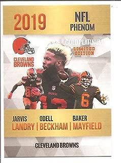 Odell Beckham Jr. Baker Mayfield Jarvis Landry Cleveland Browns 2019 NFL Phenom Gold Platinum Limited Edition Football Card