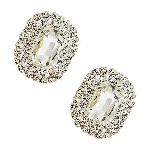 Tooky - Juego de dos broches de gemas y cristales para zapatos, extraíbles blanco blanco