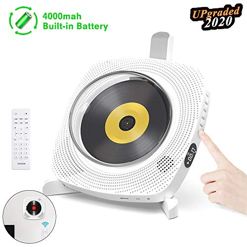 GEEKERA Portable CD Player Bluetooth, Rechargeable Wall Mountable Bluetooth MP3 Music Player Home Audio Boombox with Remote Control USB FM Radio 4000mAh Battery HiFi Speakers Headphone Jack AUX Cable