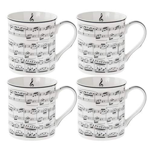 Les Trésors De Lily [Q5544 - Coffret Mugs Porcelaine 'Musique' Blanc Noir (4 Mugs) - 85x85 mm