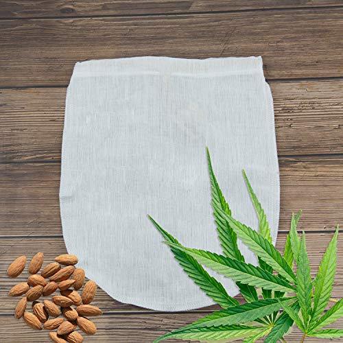 GHEART Nussmilchbeutel Bio Waschbar aus Natürlichen Hanffasern, Veganer Nussmilch Stoffsieb, Nut Milk Bag, Mandelmilch Tuch, Saft Filter-Beutel, Haselnussmilch Filtertuch (1 Stück, 30x30cm)