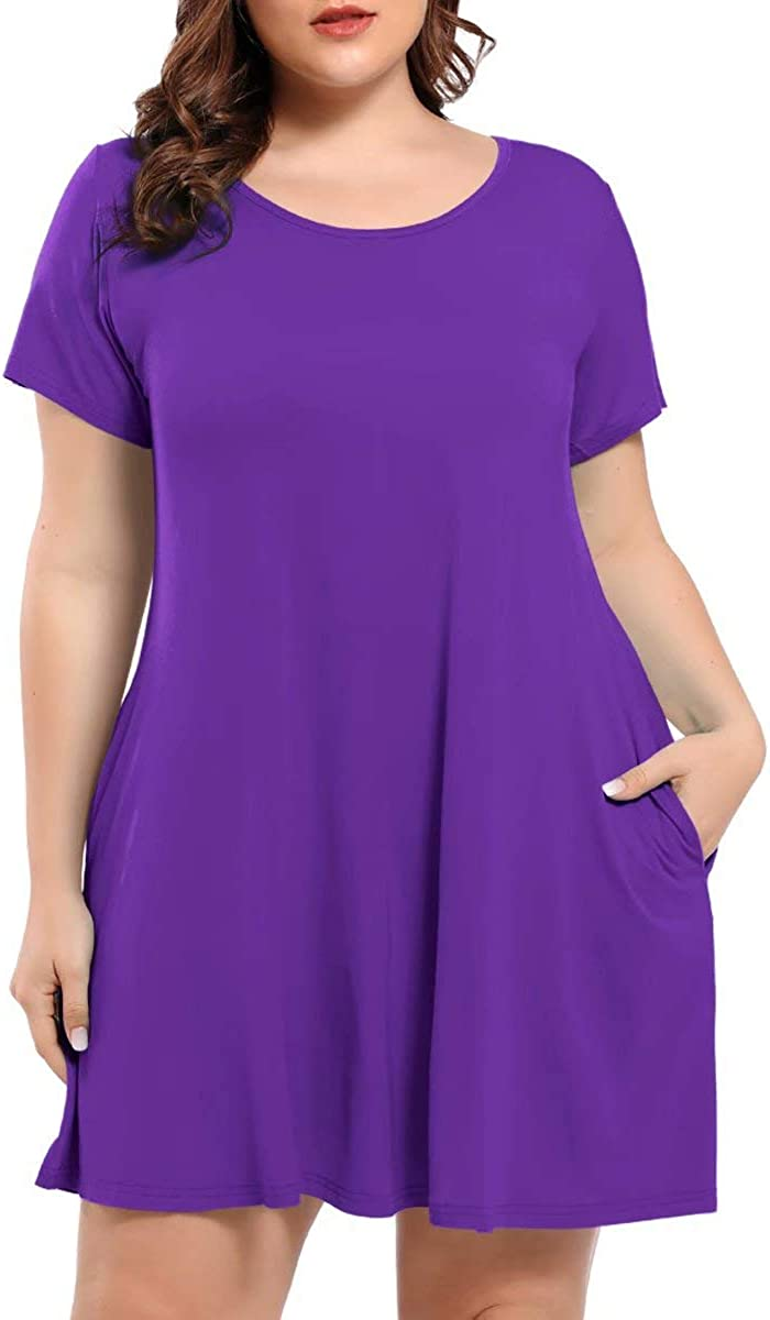 BELAROI Women's Short Sleeve Swing Dresses Summer Casual Pockets T Shirt Dress