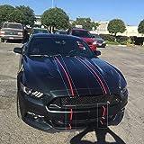 Etiquetas engomadas del Abrigo del Coche 2 Colores 10'Rayas de Rally gemelas Rayas calcomanías gráficas Fashion Hood Racing para Ford Mustang 2015-2018