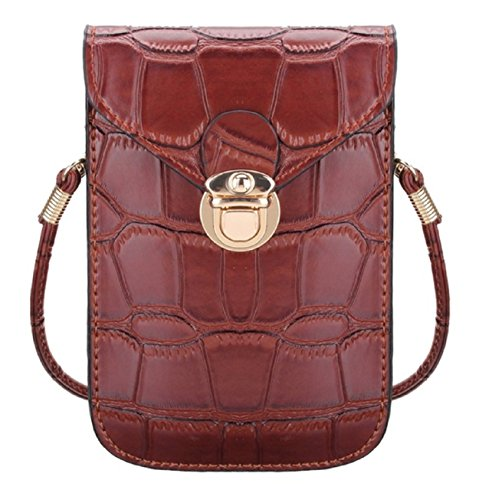 Leuchtbox Leuchtbox Mini Handtasche Kroko Style, Borsa a tracolla donna grigio Grau unisize, marrone (marrone) - LB00342