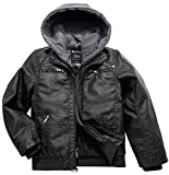 Wantdo Children's Motorcycle PU Leather Jacket Zipper Hoodie Black US 10/12